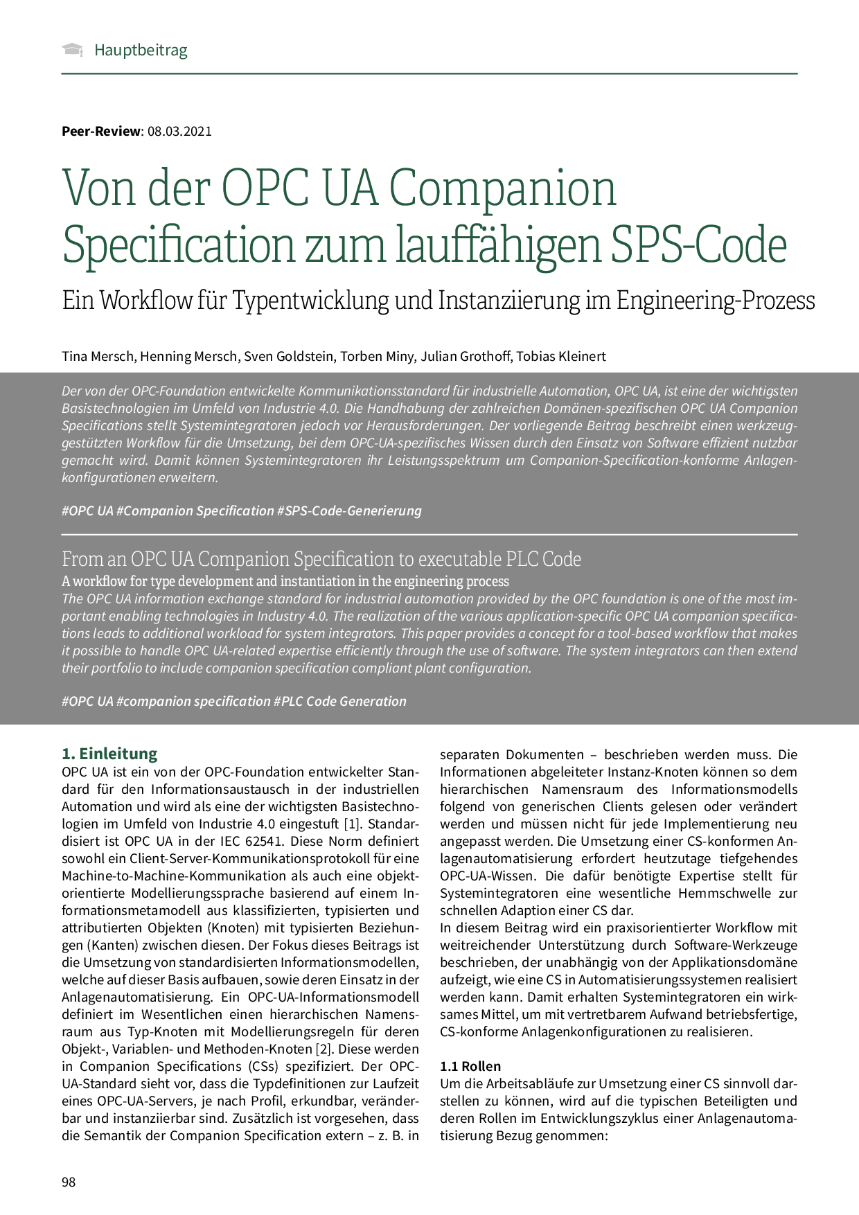 Von der OPC UA Companion Specification zum lauffähigen SPS-Code
