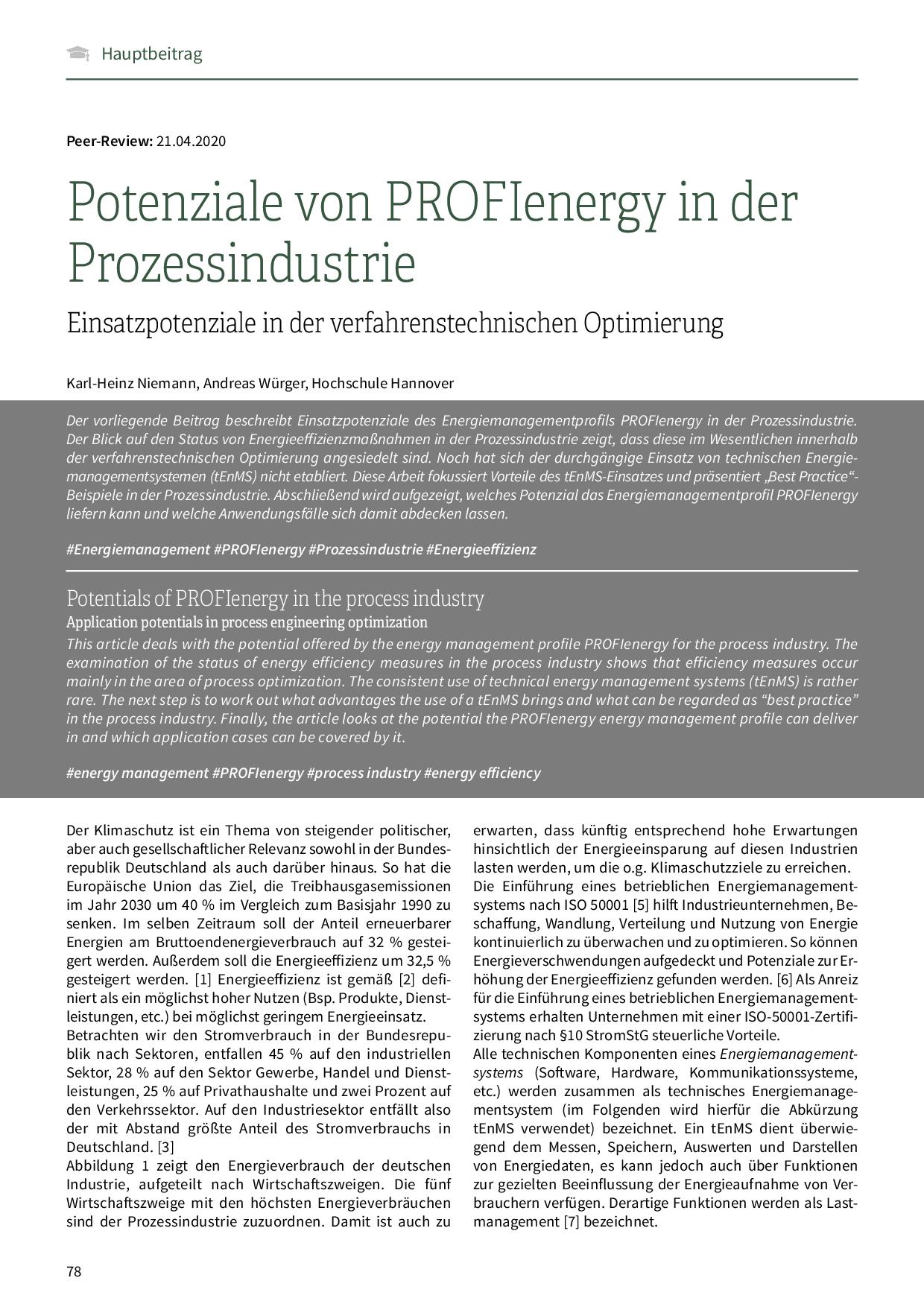 Potenziale von PROFIenergy in der Prozessindustrie