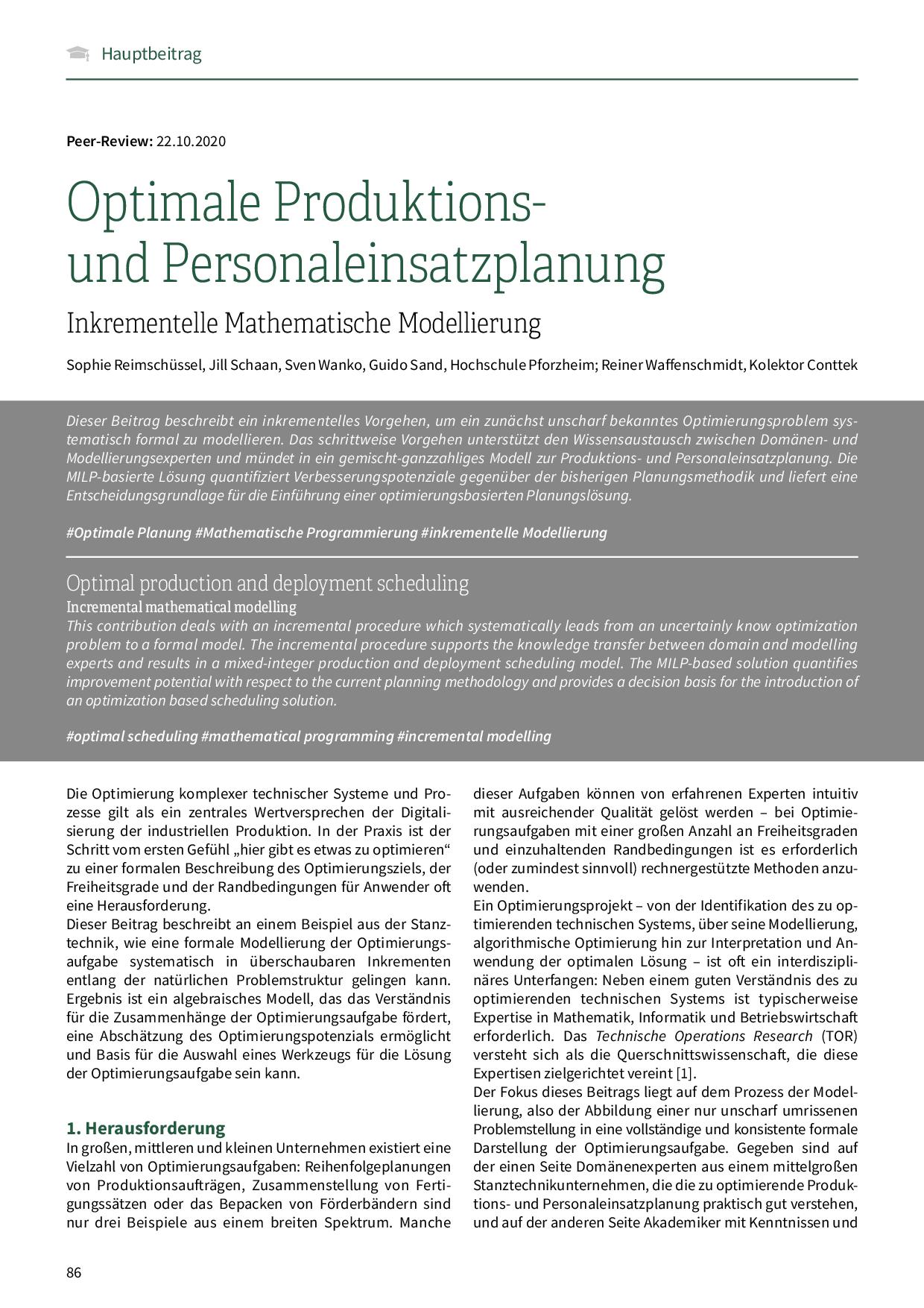 Optimale Produktions- und Personaleinsatzplanung