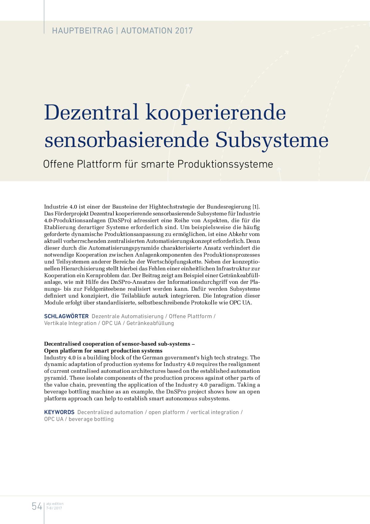 Dezentral kooperierende sensorbasierende Subsysteme