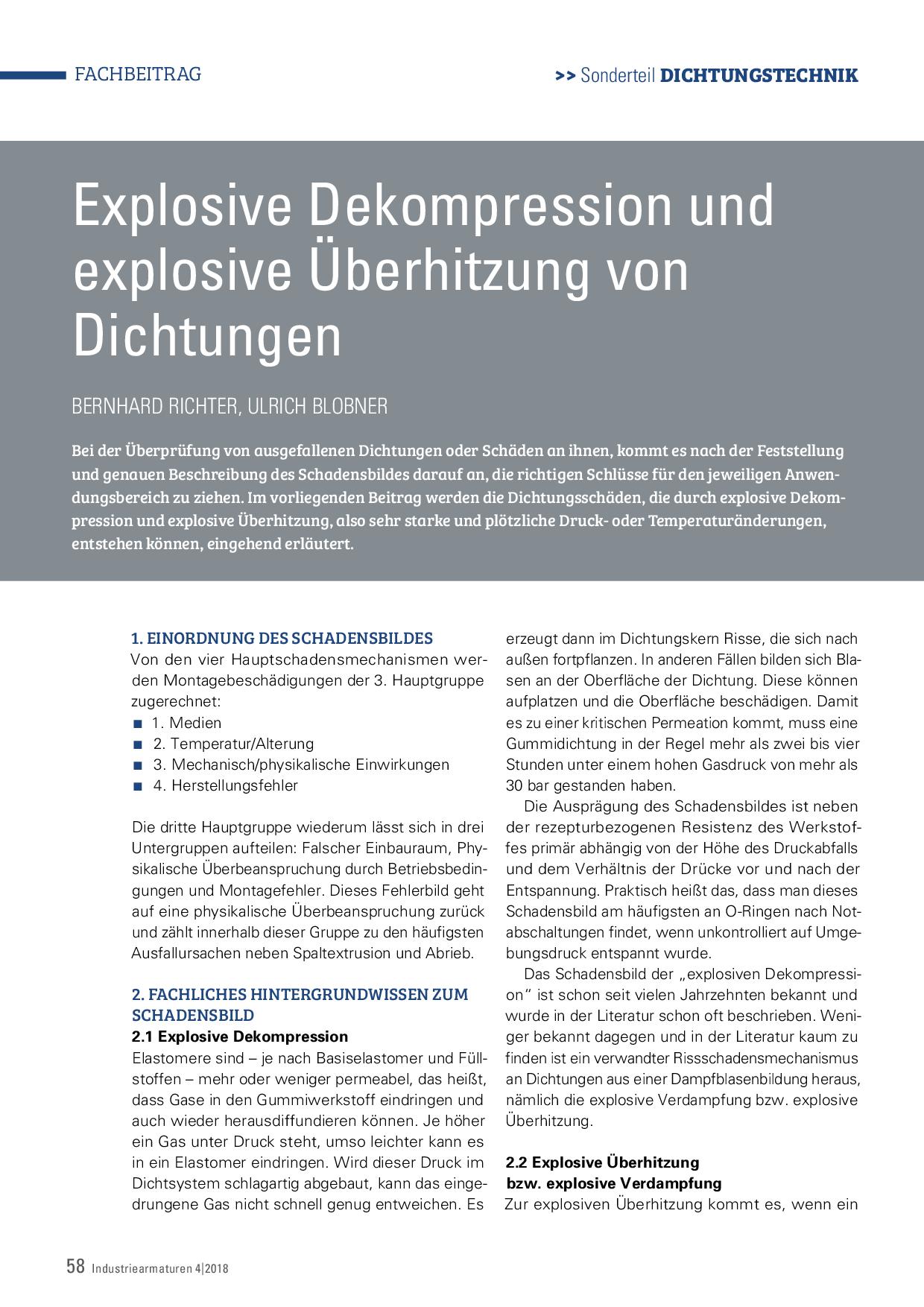 Explosive Dekompression und explosive Überhitzung von Dichtungen