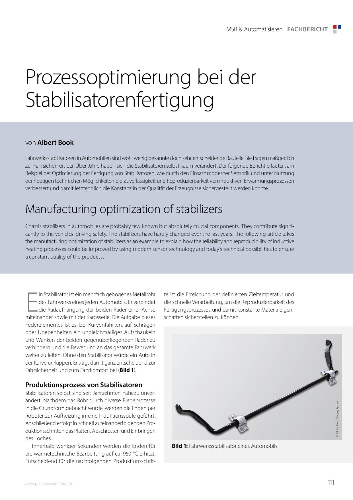 Prozessoptimierung bei der Stabilisatorenfertigung