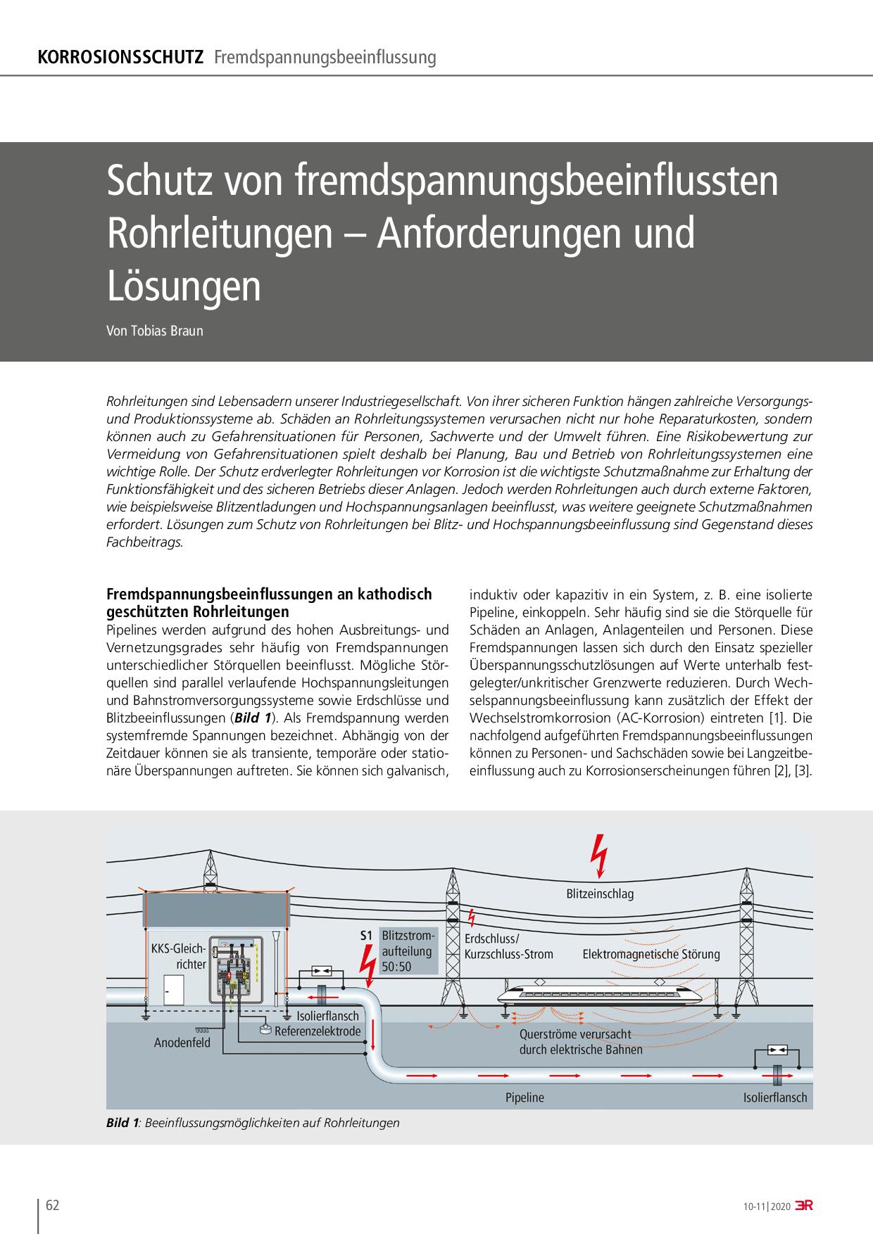Schutz von fremdspannungsbeeinflussten Rohrleitungen – Anforderungen und Lösungen