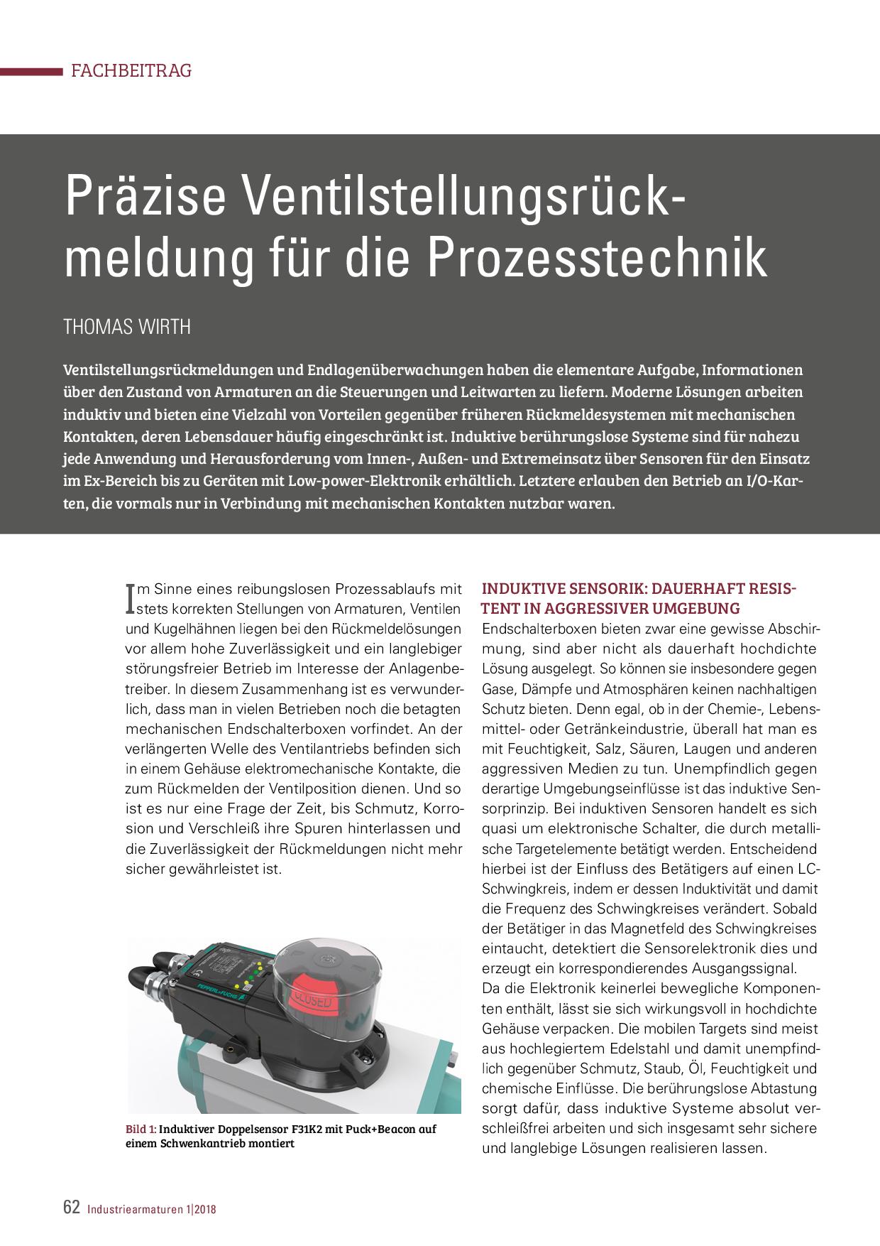 Präzise Ventilstellungsrückmeldung für die Prozesstechnik