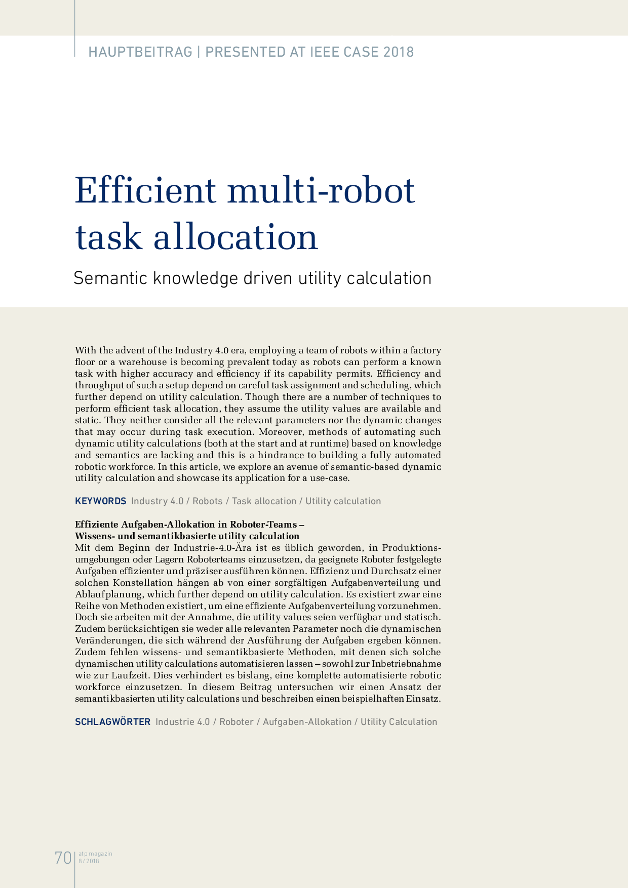 Efficient multi-robot task allocation