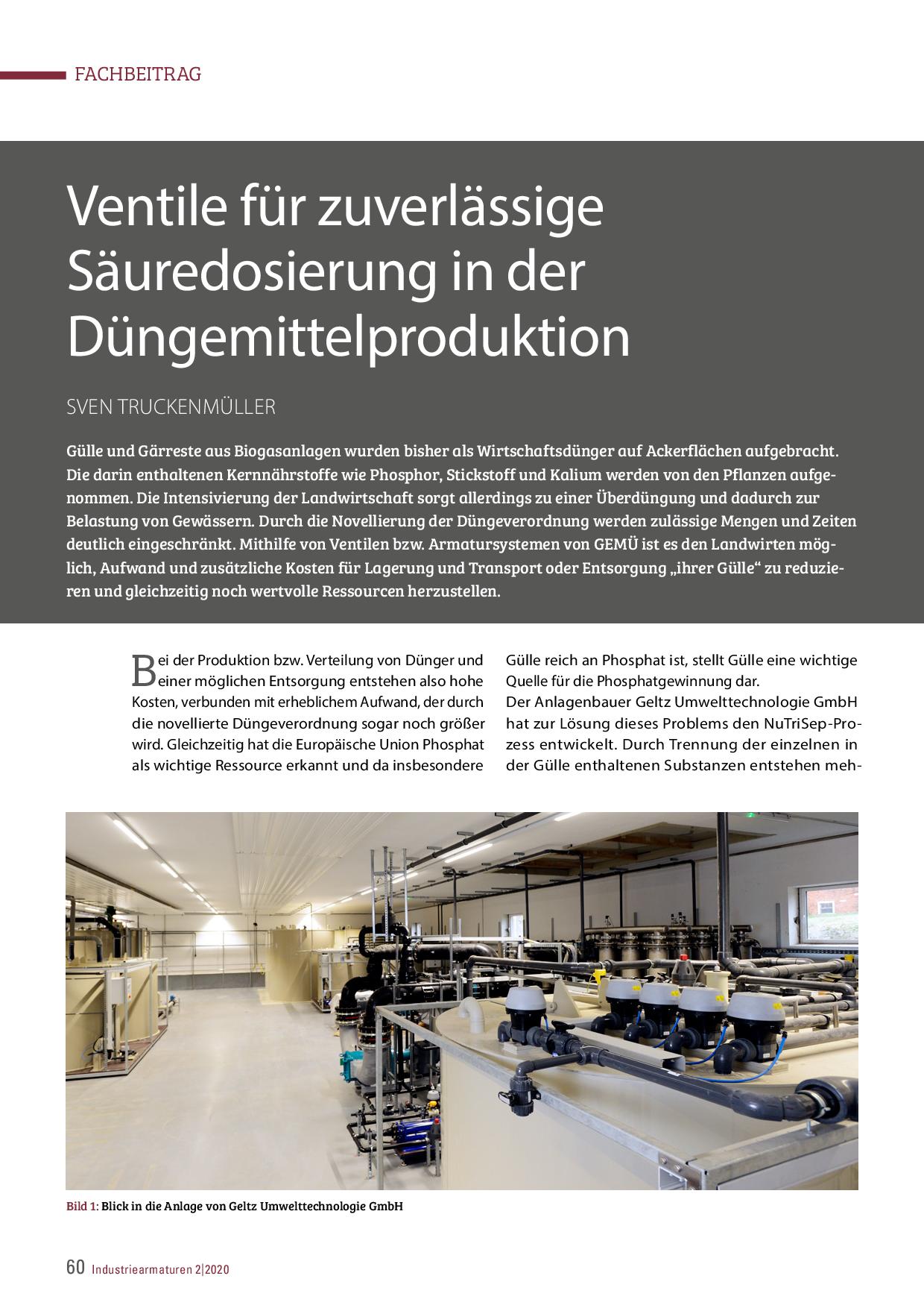 Ventile für zuverlässige Säuredosierung in der Düngemittelproduktion
