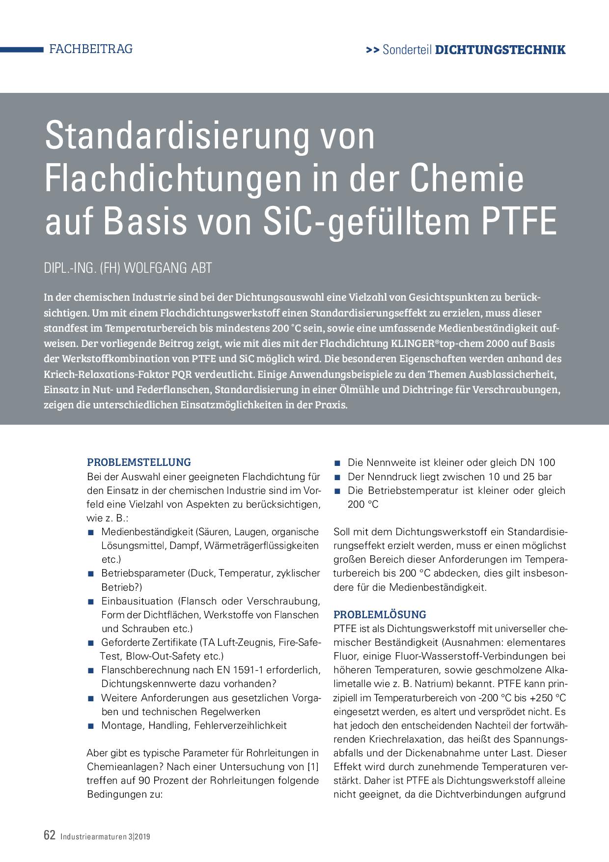 Standardisierung von Flachdichtungen in der Chemie auf Basis von SiC-gefülltem PTFE