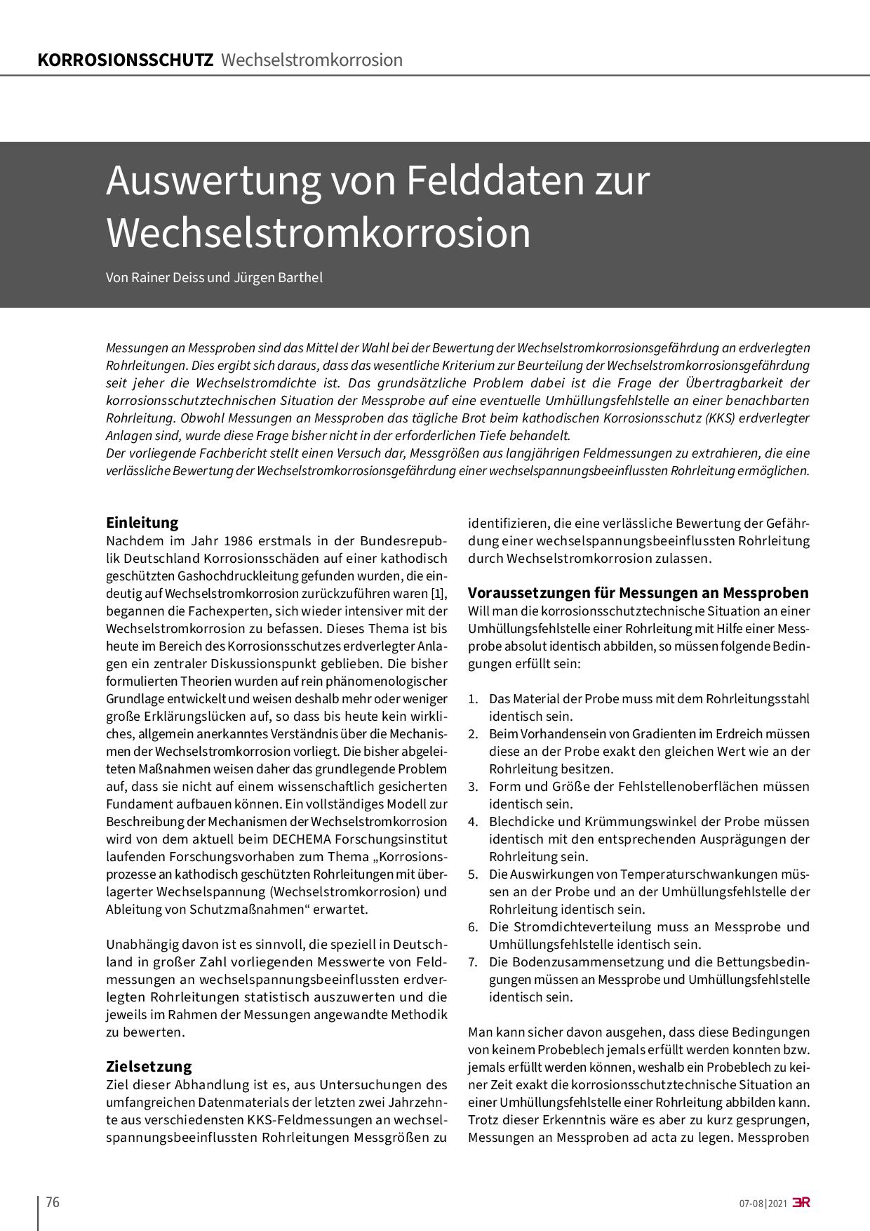 Auswertung von Felddaten zur Wechselstromkorrosion