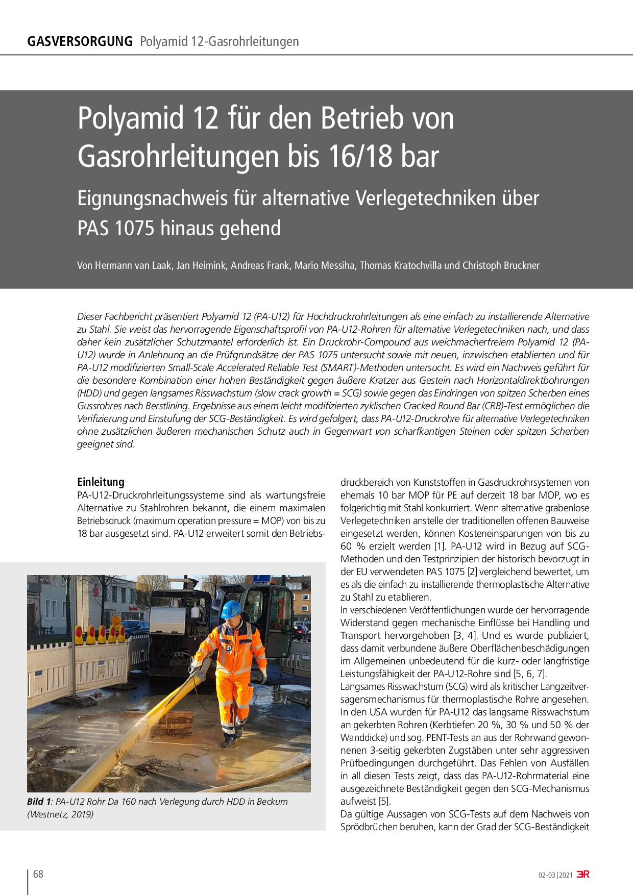 Polyamid 12 für den Betrieb von Gasrohrleitungen bis 16/18 bar