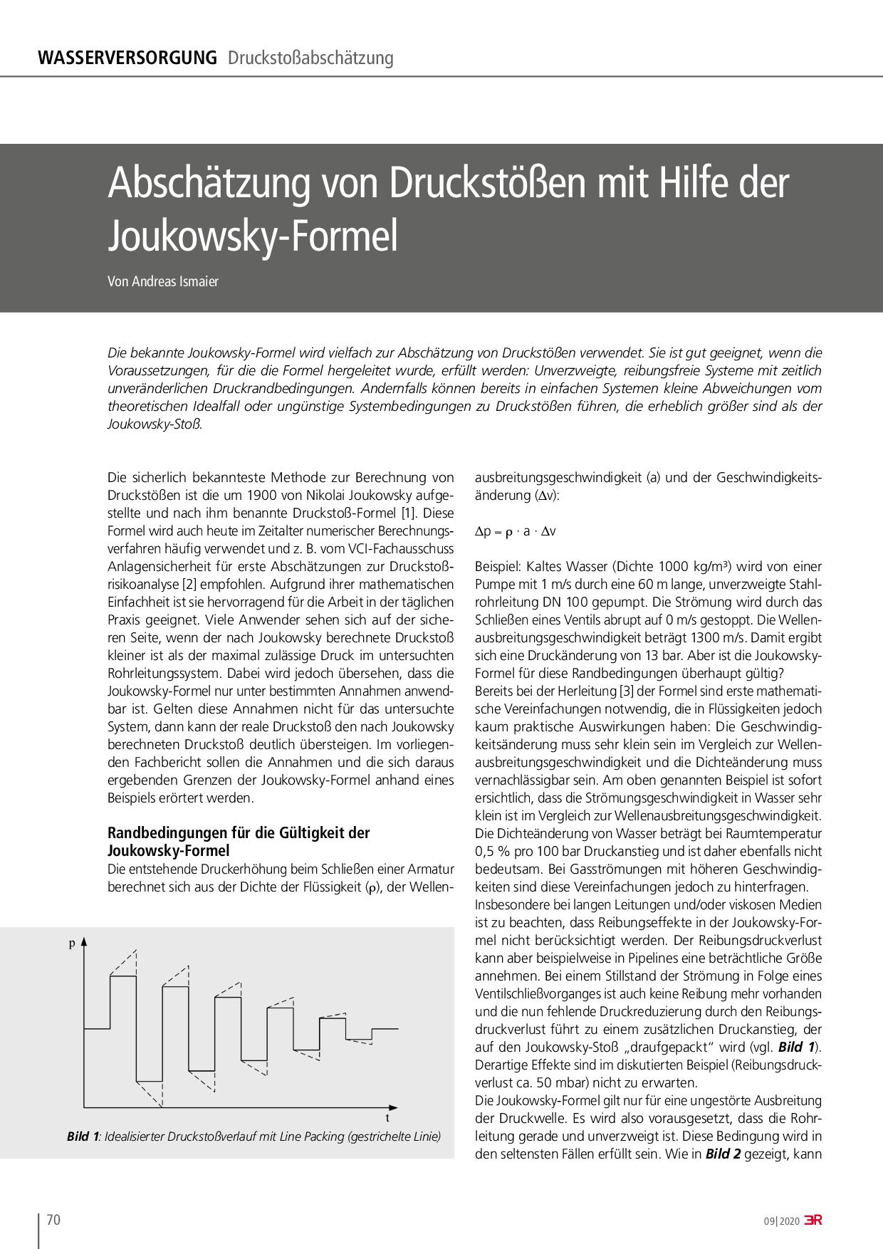 Abschätzung von Druckstößen mit Hilfe der Joukowsky-Formel