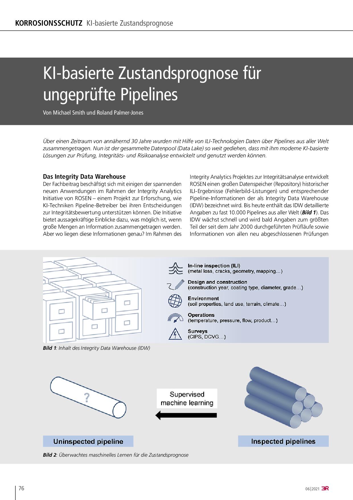 KI-basierte Zustandsprognose für ungeprüfte Pipelines