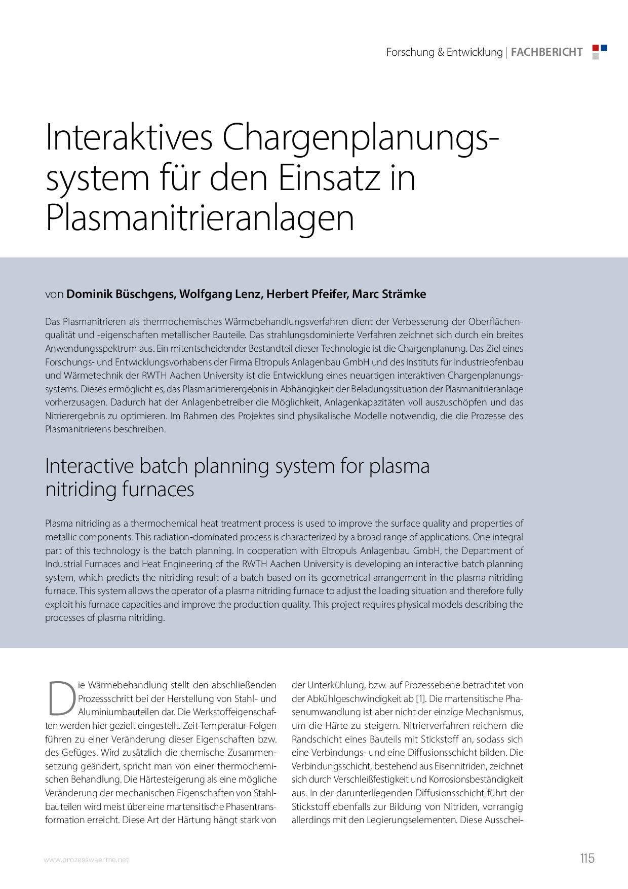 Interaktives Chargenplanungssystem für den Einsatz in Plasmanitrieranlagen