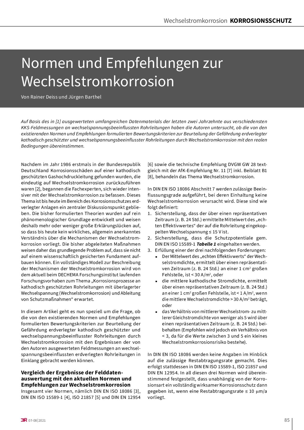 Normen und Empfehlungen zur Wechselstromkorrosion
