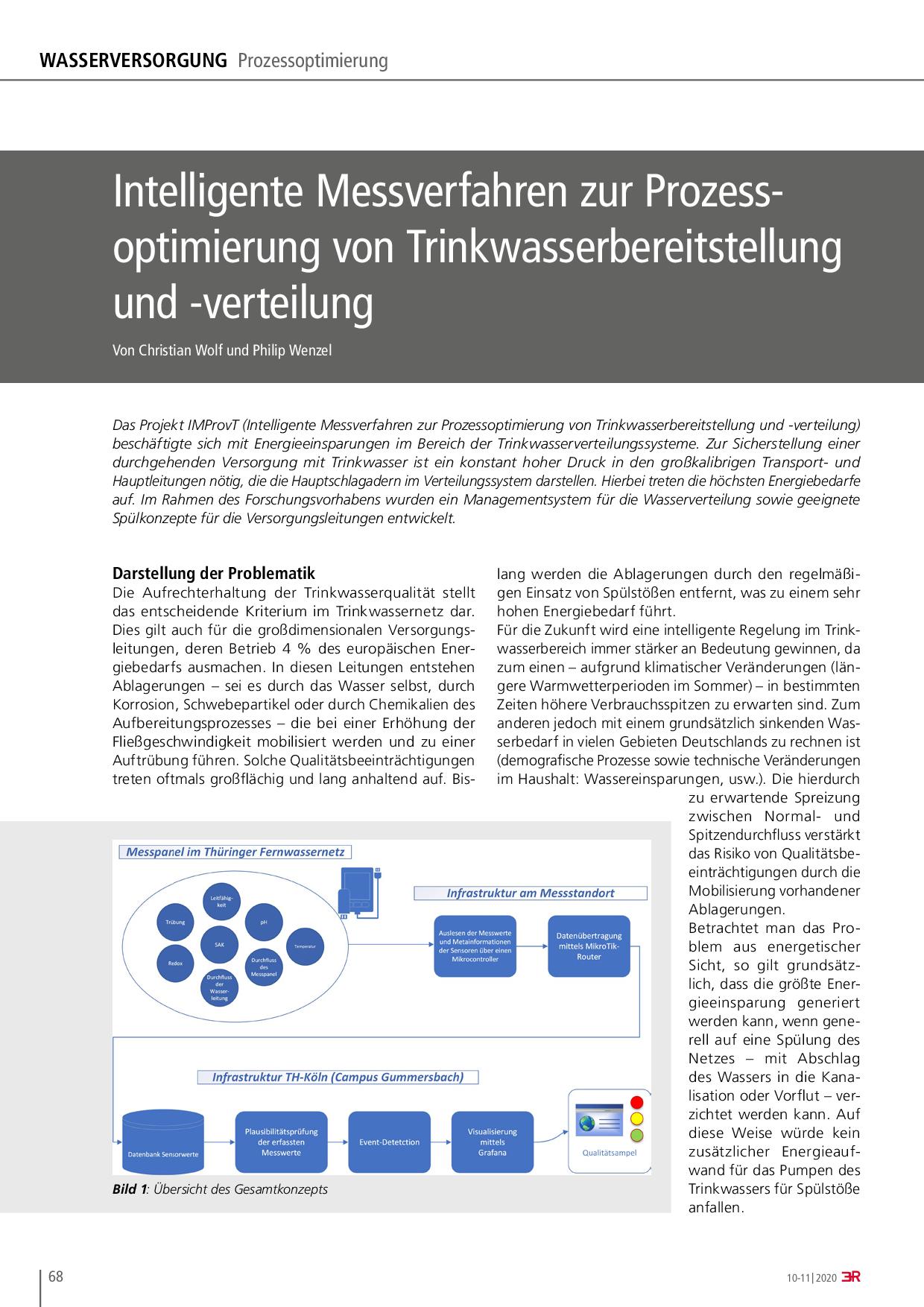 Intelligente Messverfahren zur Prozessoptimierung von Trinkwasserbereitstellung und -verteilung