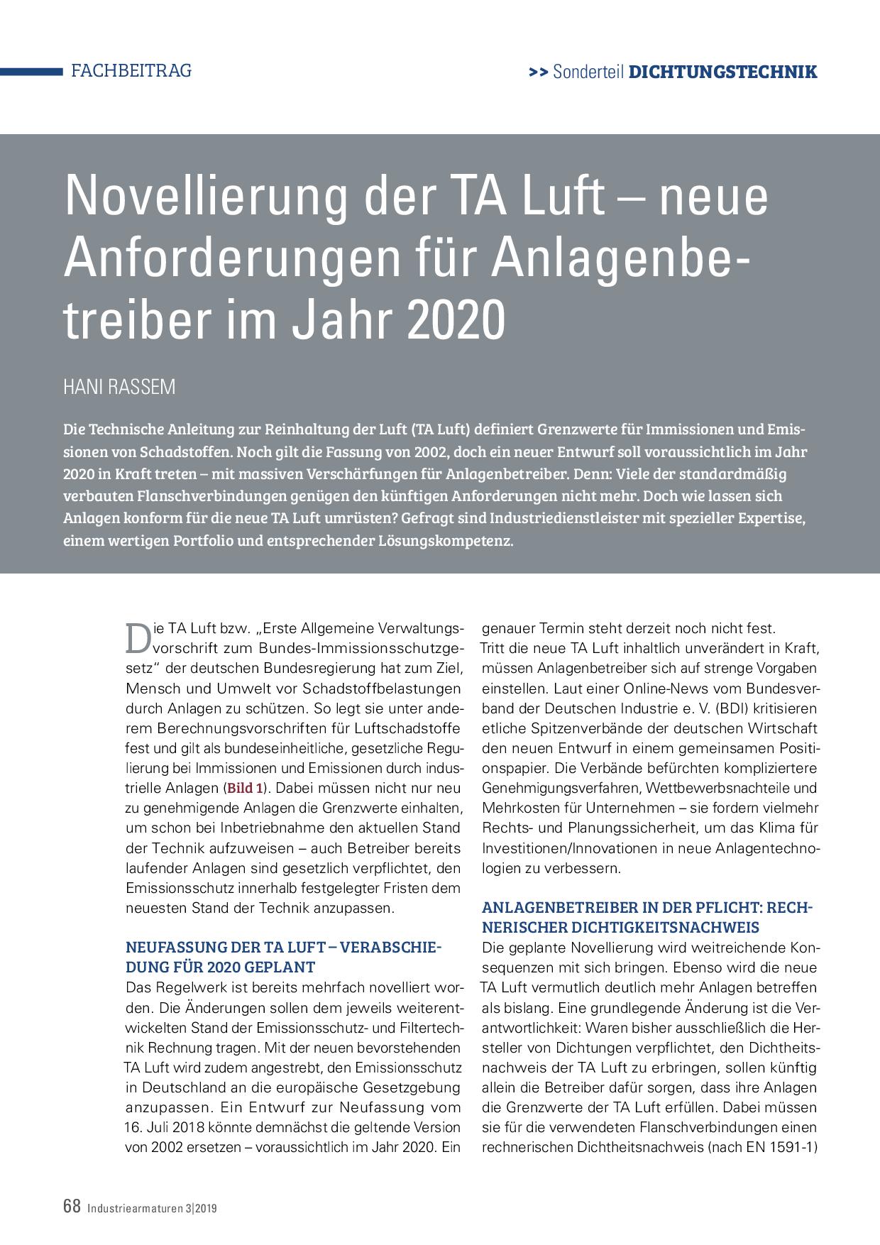 Novellierung der TA Luft – neue Anforderungen für Anlagenbetreiber im Jahr 2020