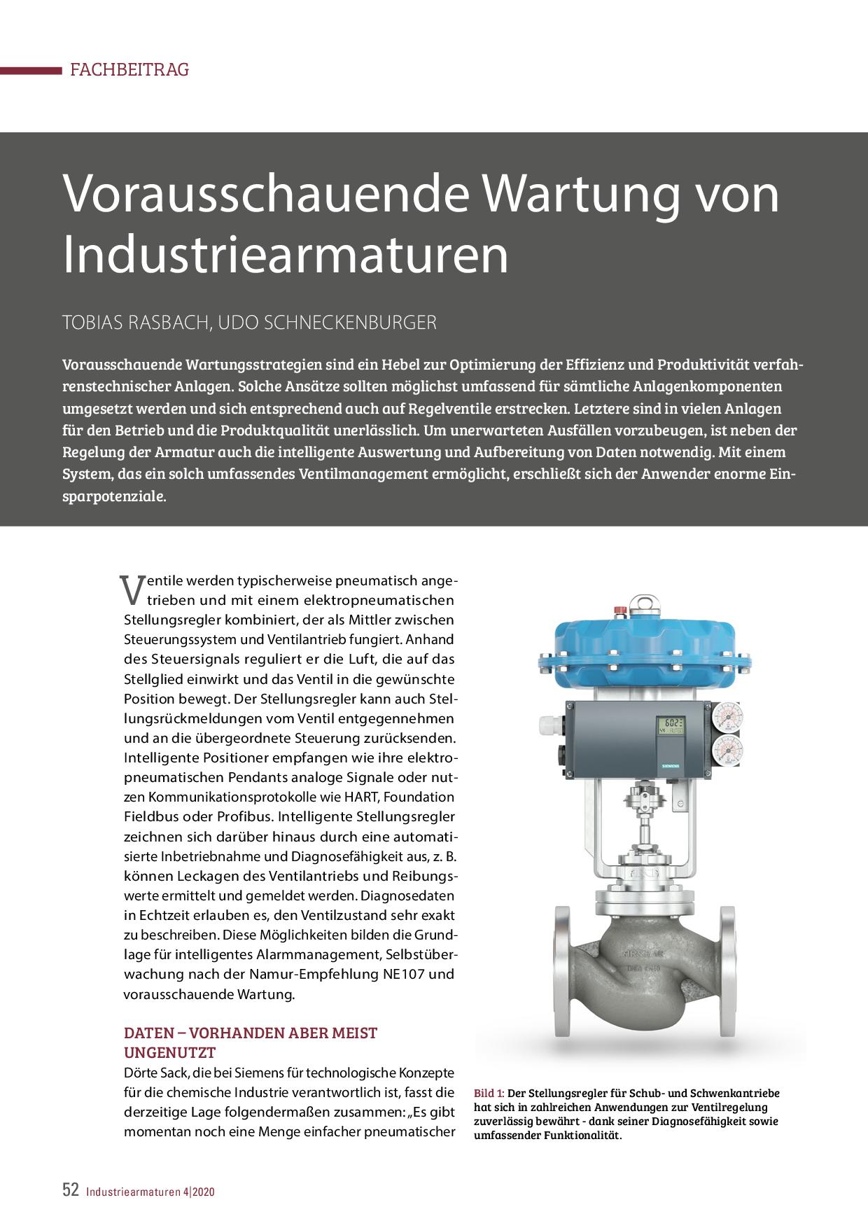 Vorausschauende Wartung von Industriearmaturen