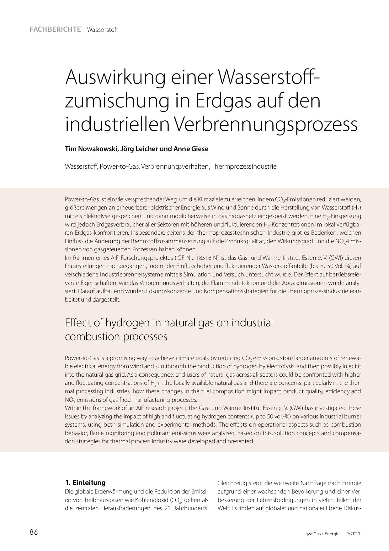 Auswirkung einer Wasserstoffzumischung in Erdgas auf den industriellen Verbrennungsprozess