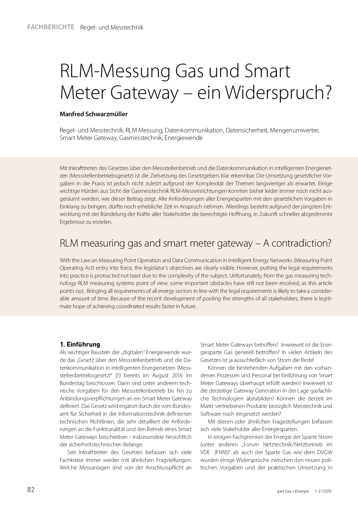 RLM-Messung Gas und Smart Meter Gateway – ein Widerspruch?