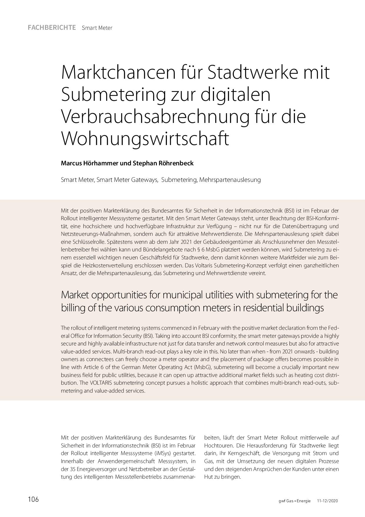Marktchancen für Stadtwerke mit Submetering zur digitalen Verbrauchsabrechnung für die Wohnungswirtschaft