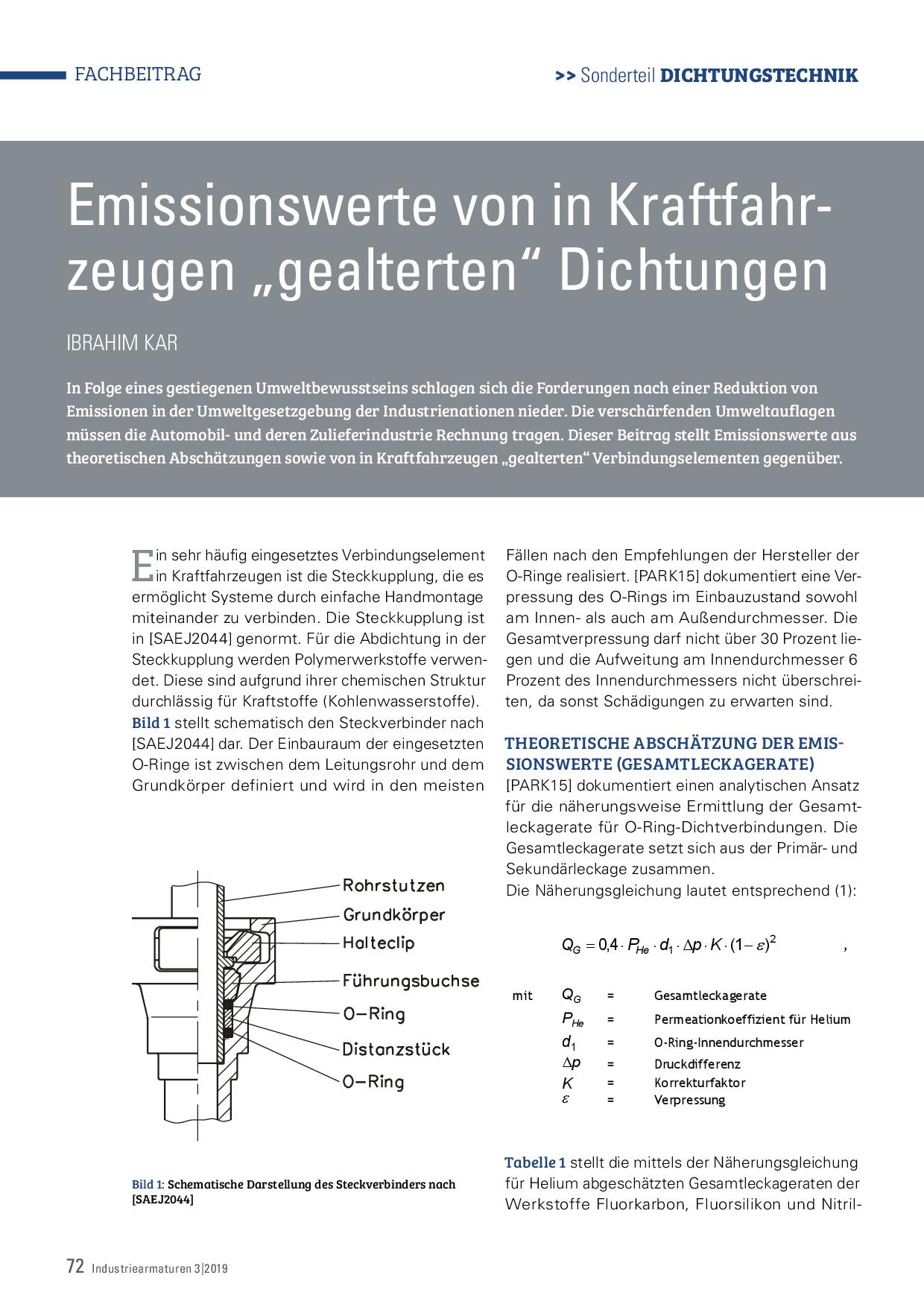 """Emissionswerte von in Kraftfahrzeugen """"gealterten"""" Dichtungen"""