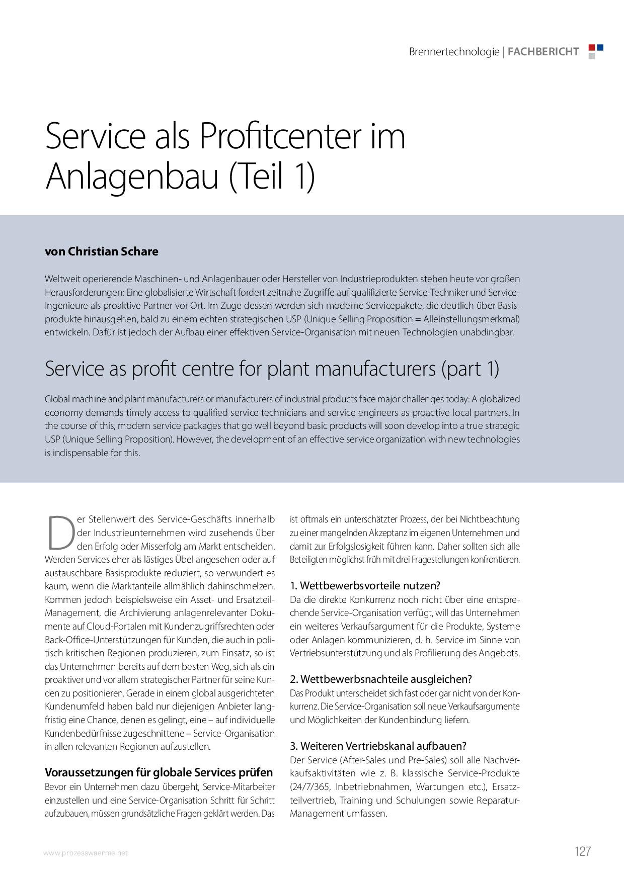 Service als Profitcenter im Anlagenbau (Teil 1)