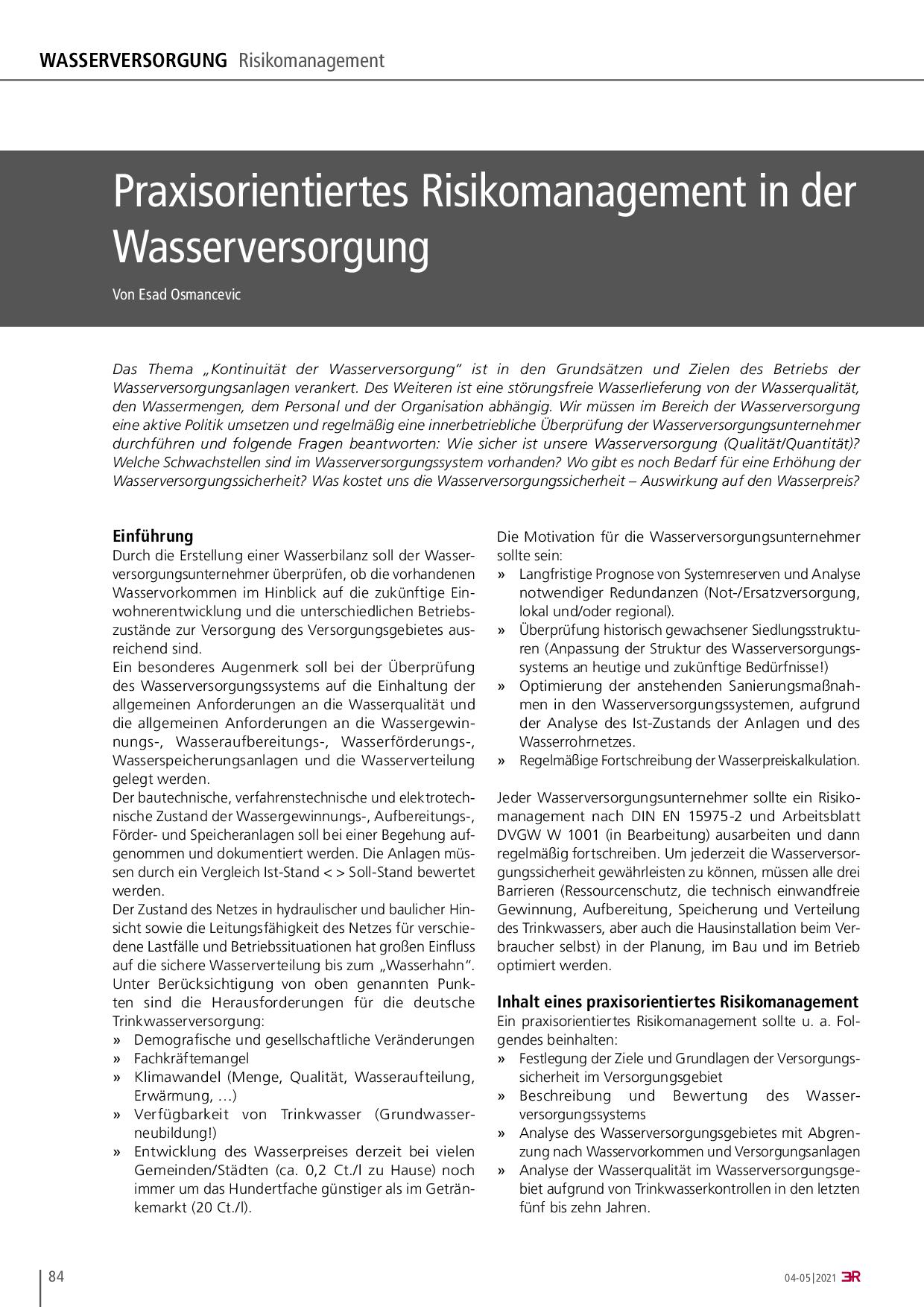 Praxisorientiertes Risikomanagement in der Wasserversorgung