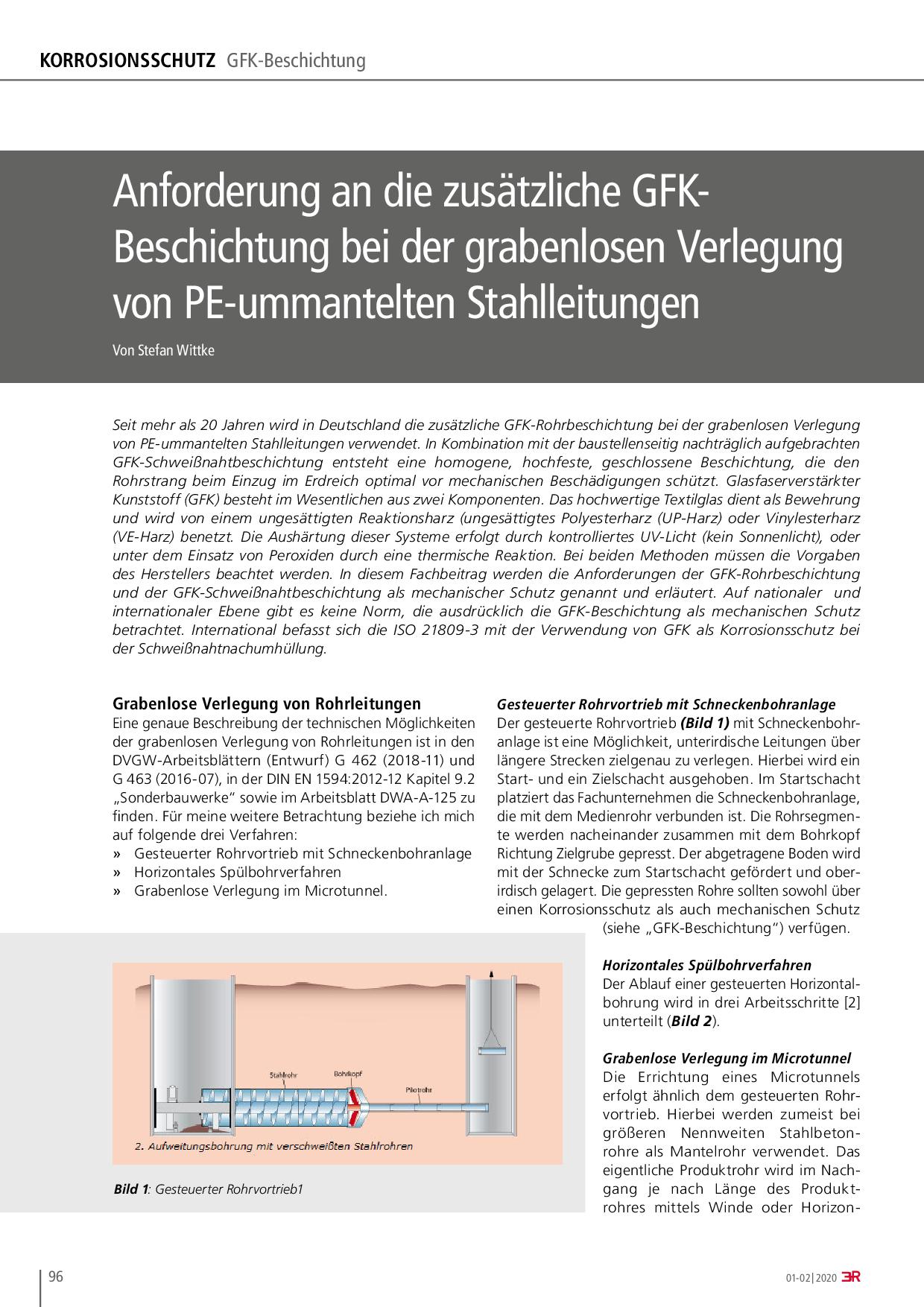 Anforderung an die zusätzliche GFK-Beschichtung bei der grabenlosen Verlegung von PE-ummantelten Stahlleitungen