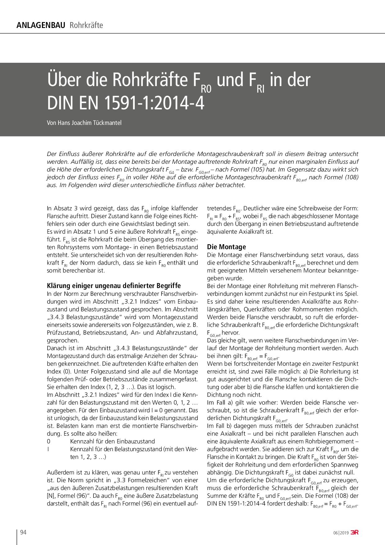 Über die Rohrkräfte FR0 und FRI in der DIN EN 1591-1:2014-4