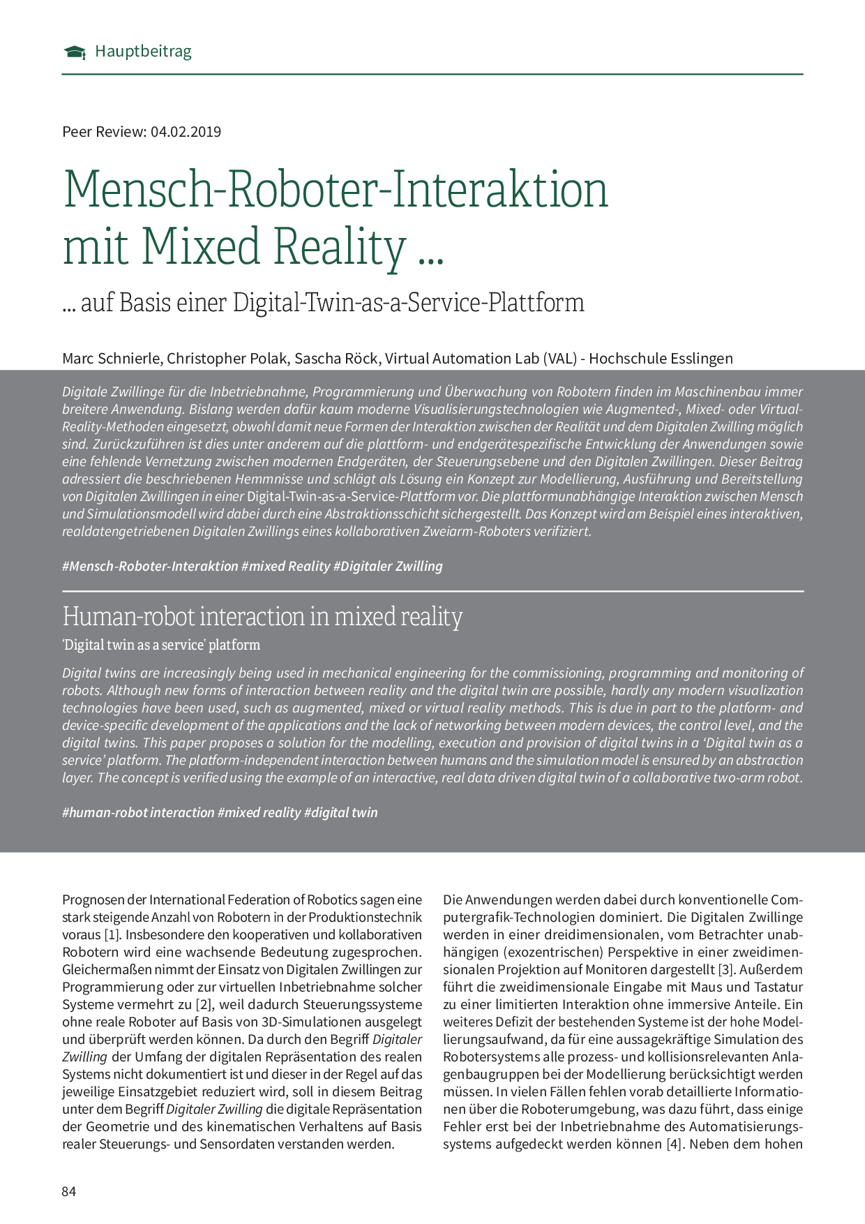 Mensch-Roboter-Interaktion mit Mixed Reality …