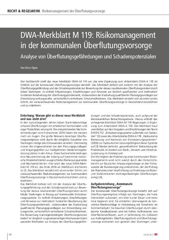 DWA-Merkblatt M 119: Risikomanagement in der kommunalen Überflutungsvorsorge