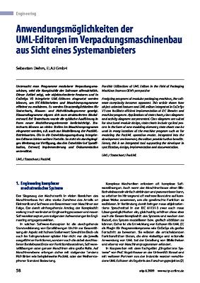 Anwendungsmöglichkeiten der UML-Editoren im Verpackungsmaschinenbau aus Sicht eines Systemanbieters
