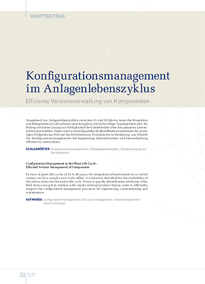 Konfigurationsmanagement im Anlagenlebenszyklus