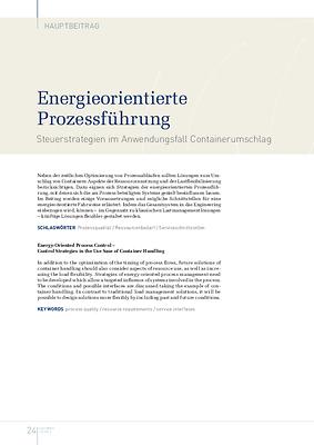 Energieorientierte Prozessführung