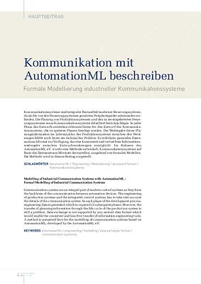 Kommunikation mit AutomationML beschreiben