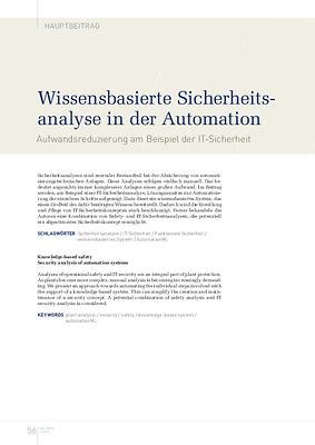 Wissensbasierte Sicherheitsanalyse in der Automation