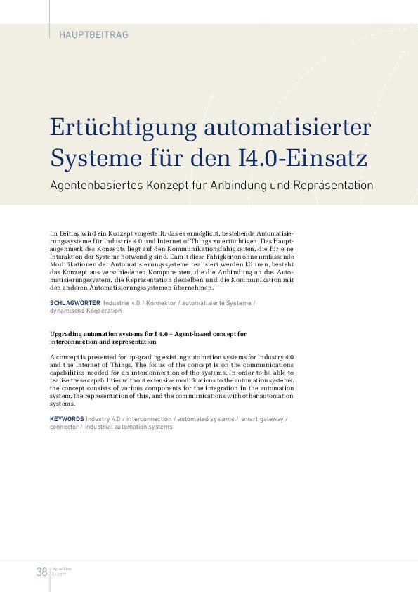 Ertüchtigung automatisierter Systeme für den I4.0-Einsatz