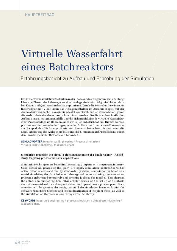 Virtuelle Wasserfahrt eines Batchreaktors