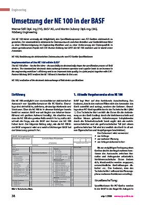 Umsetzung der NE 100 in der BASF