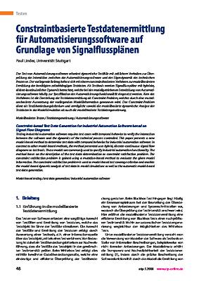 Constraintbasierte Testdatenermittlung für Automatisierungssoftware auf Grundlage von Signalflussplänen