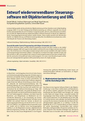 Entwurf wiederverwendbarer Steuerungssoftware mit Objektorientierung und UML