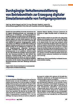 Durchgängige Verhaltensmodellierung von Betriebsmitteln zur Erzeugung digitaler Simulationsmodelle von Fertigungssystemen