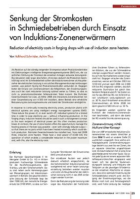 Senkung der Stromkosten in Schmiedebetrieben durch Einsatz von Induktions-Zonenerwärmern