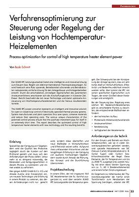 Verfahrensoptimierung zur Steuerung oder Regelung der Leistung von Hochtemperatur-Heizelementen