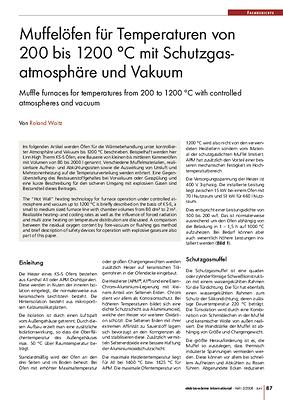 Muffeloefen für Temperaturen von 200 bis 1200 °C mit Schutzgasatmosphäre und Vakuum