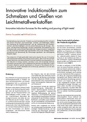 Innovative Induktionsöfen zum Schmelzen und Gießen von Leichtmetallwerkstoffen