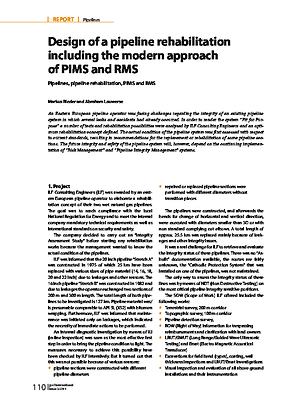 Design of a pipeline rehabilitation ­including the modern approach of PIMS and RMS