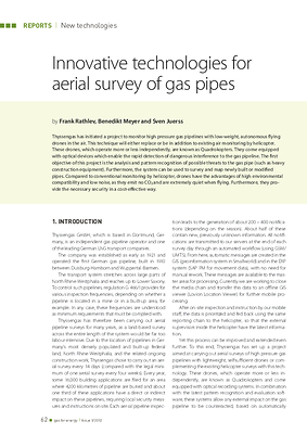 Innovative technologies for aerial survey of gas pipes