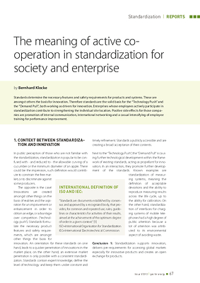 The meaning of active cooperation in standardization for society and enterprise