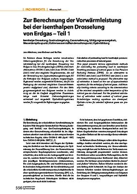 Zur Berechnung der Vorwärmleistung bei der isenthalpen Drosselung von Erdgas – Teil 1
