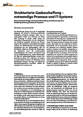 Strukturierte Gasbeschaffung – notwendige Prozesse und IT-Systeme